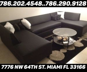 U shape black leather sectional sofa available for sale brand new for Sale in Miami Springs, FL