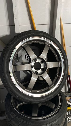 Te37 sl wheels and tires 18x9 square set up for Sale in Gardena, CA