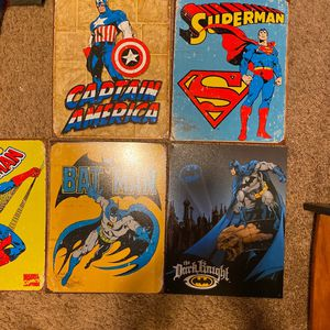 5 Superhero Vintage Tin Signs for Sale in San Diego, CA