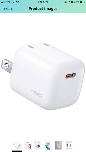 USB C Charger, WEMISS 20W Mini iPhone Fast Charger with Foldable Plugs, Compatible with iPhone 12/12 Mini / 12 Pro / 12 Pro Max/Series 8-11, iPad Mag for Sale in Galloway, NJ