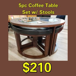 NEW Roundhill Furniture 5PC Coffee Table Set w/ Stools: njft Livingrm for Sale in Burlington, NJ