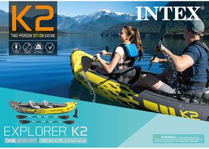 Intex Explorer K2 Kayak, 2-Person Inflatable Kayak Set with Aluminum Oars and High Output Air Pump for Sale in Anaheim, CA