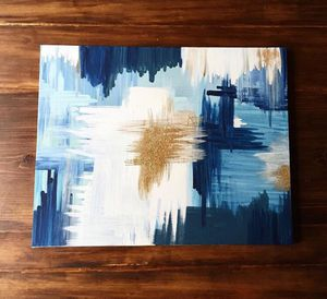 Blue and Gold Abstract Painting for Sale in Seattle, WA