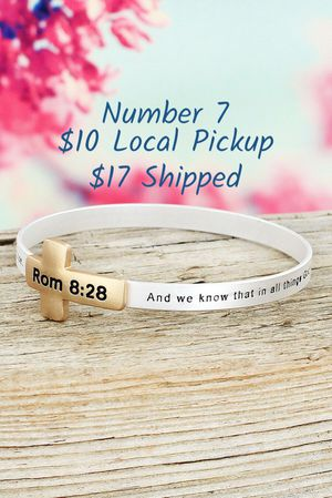 New in Package Romans 8:28 Bible Verse Silver/Gold Tone Bangle Bracelet Inspirational Christian for Sale in Troy, VA