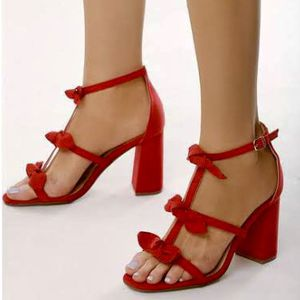 size 9 XYD Cute T-Strap Block Heel Gladiator Sandals Open Toe Bows Pumps for Women Prom Party Dress Shoes for Sale in Las Vegas, NV
