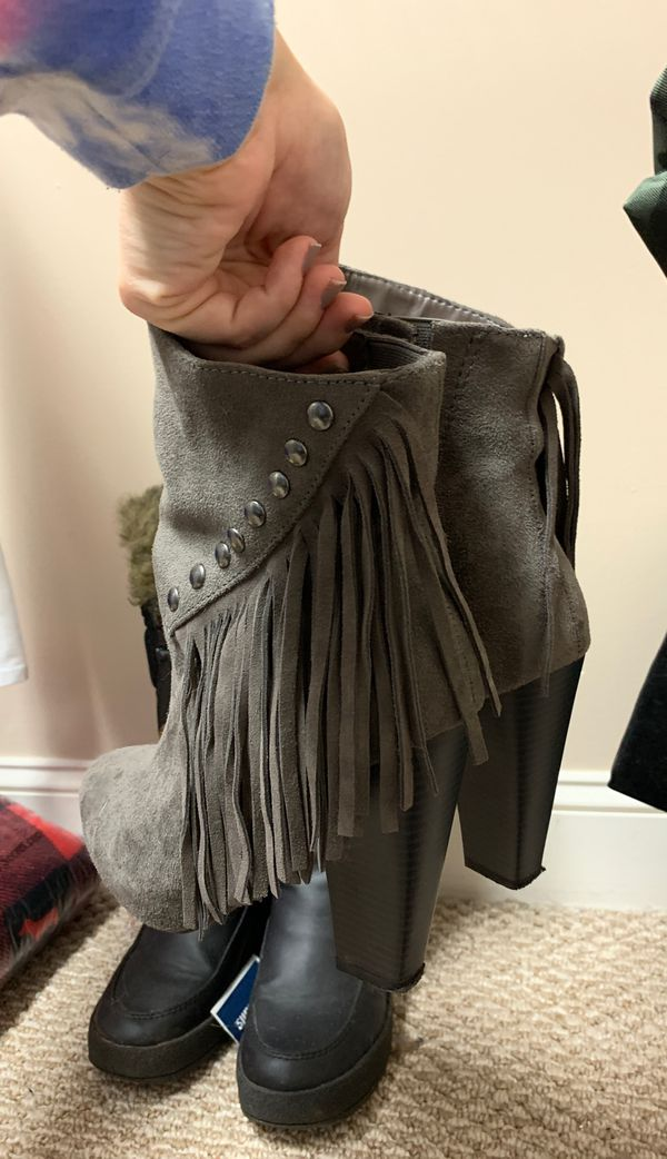 Gray fringe suede booties size 9