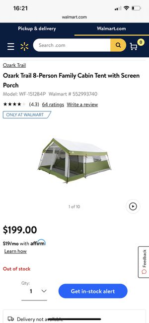 Ozark Trail 8 Person Family Cabin Tent With Screen Porch for Sale in Lancaster, PA