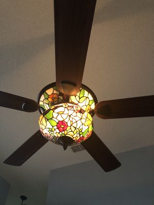 Beautiful & elegant stain glass fan w/ remote $200, 2 hanging lights $75 for both and chandelier $75 for Sale in Kissimmee, FL