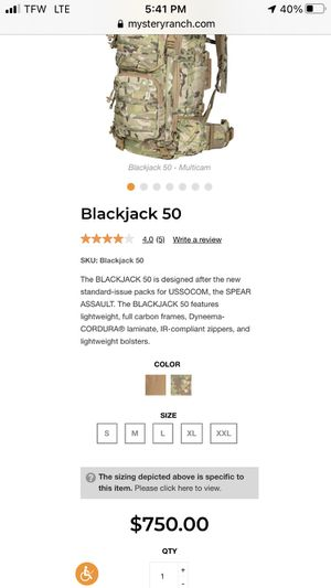 Mystery Ranch BlackJack 50L $750 BackPack for Sale in Fife, WA