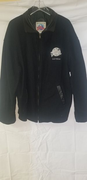 Planet Hollywood las vegas jacket wool with leather sleeves for Sale in Detroit, MI