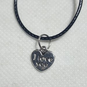 """I Love you Silver plated Necklace. Charm pendant Comes with 18"""" in long Leather Code Beautiful Necklaces for Sale in Queens, NY"""