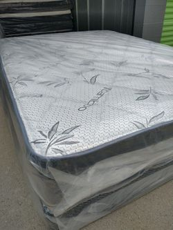 "Queen Mattress With Box Spring Bamboo Pillow Top 12""Thick Orthopedic Brand New for Sale in Fontana, CA"