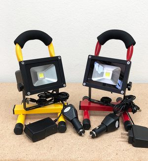 $25 each NEW Cordless 10W Portable Work Light Rechargeable LED Flood Spot Camping Lamp (Red or Yellow) for Sale in Whittier, CA