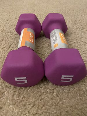 CAP Hex Neoprene 5 lb Pound Set Pair of 2 Dumbbells Weights Dumbell 10 Lbs Total for Sale in Centreville, VA