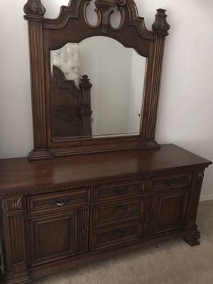 Antique solid cherry wood dresser with mirror for Sale in Lutz, FL