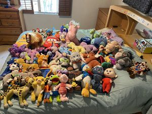 Disney huge plush lot my little pony toy story cars lion king toys plushies for Sale in Upland, CA