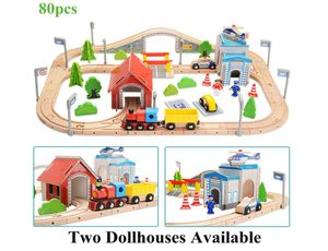 80 pcs Wooden Train Track Sets Thomas Brio Play Train Set with Bridge Battery Operated Play Set Police Office Deluxe Accessories Railway for Sale in Rowland Heights, CA
