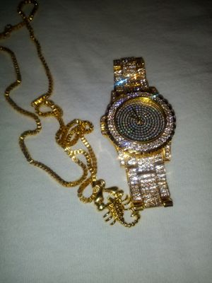 Watch with franco chain scorpion charm for Sale in Austell, GA