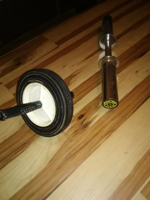 Ab Wheel & Gold's Gym Curl Bar
