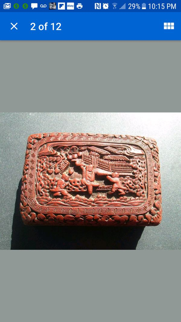 Antique Chinese Carved Cinnabar Box
