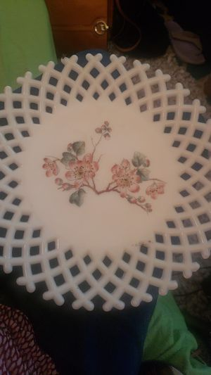EAPG Open Work Plates - Challinor, Taylor and Company - White Milk Glass - Set of 2 - Hand Painted - Early American Pattern Glass - C. 1887 for Sale in Tampa, FL