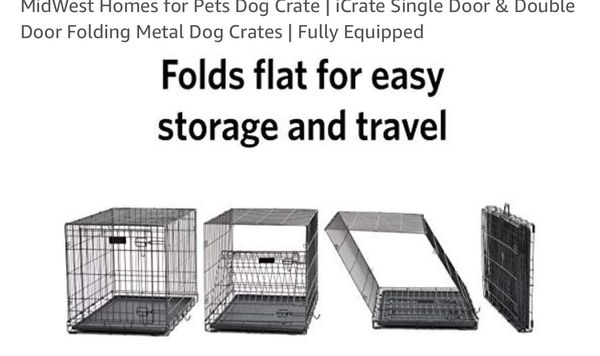 Dog crate 42 inch, like new, two doors, and a divider included.