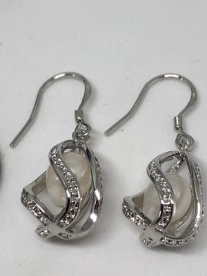 925 Caged Freshwater Pearl Earrings for Sale in Shelton, CT