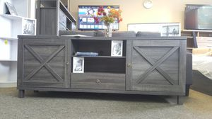Oracle TV Stand up to 85in TVs, Distressed Grey, SKU 182290 for Sale in Huntington Beach, CA