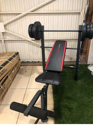 Gym Equipment bench press with 100lb weight set for Sale in Pico Rivera, CA