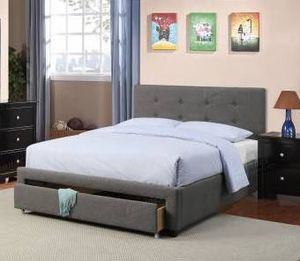 Queen Bed Frame with Storage Drawer, Grey for Sale in Norwalk, CA