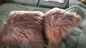 set of large pink furry throw pillows for Sale in Jacksonville, FL