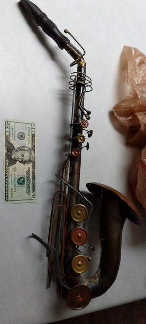 Brass copper saxophone sax sacks wall art 2 feet long by 6 in wide for Sale in Glendale, AZ
