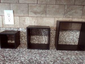 3 black floating wall shelves Square design for Sale in Fresno, CA