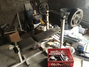 Weight bench, weights, curling bar, dumbbell bars for Sale in Chicago, IL