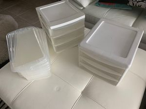2 plastic sets of 3 drawers each and 4 plastic shoe boxes for Sale in Boca Raton, FL