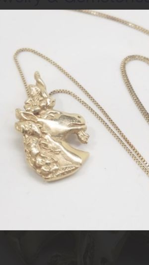 14K Solid Gold UNICORN Pendant Box Chain Necklace. 18 Inches for Sale in Charlotte, NC