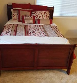 Brand New Full Size Cherry Wood Sleigh Bed Frame ONLY for Sale in Silver Spring, MD