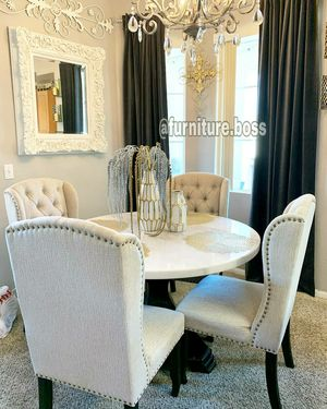 """-Fine Dining- 48"""" Round Whute marble table top with black rustic pedestal & 4 linen wing back chairs- for Sale in Riverside, CA"""