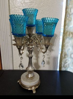 "Candle decor holder with marble base. 15"" tall. for Sale in Pasadena, TX"
