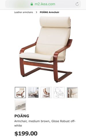 Poang Ikea chair and ottoman (off white leather, medium brown wood) for Sale in Alexandria, VA