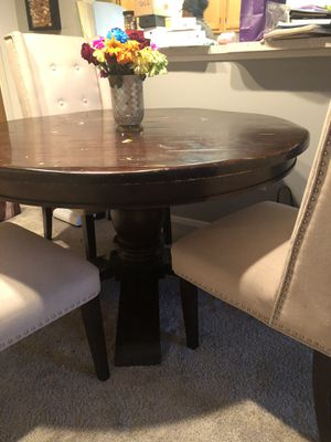 Wooden Table & 3 Cloth/Wooden Chairs for Sale in Commerce Charter Township, MI