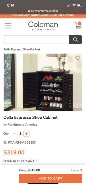 Della Espresso Shoe Cabinet for Sale in Cave Spring, VA