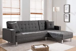 GRAY LINEN Sectional Sofa Bed Reversible Chaise / SILLON TELA GRIS CAMA for Sale in Temecula, CA