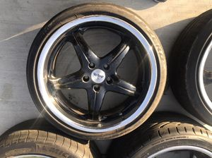 "19"" Rims for sale. 5 spoke 5 lug nuts. Fits INFINITY G35. Chrome lip and staggered 19"" for Sale in Los Angeles, CA"