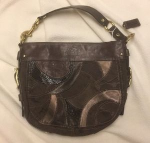 Authentic coach brown leather canvas shoulder bag for Sale in Dallas, TX