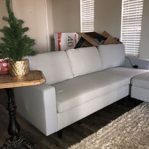 Light Grey Sectional Couch w/ Massaging USB Cushion + Ottoman for Sale in Dunedin, FL