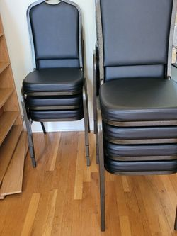 16 Black Vinyl Stackable Chairs New for Sale in Suwanee,  GA