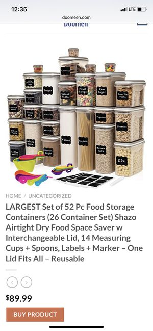 Shazo food storage containers airtight set for Sale in San Bernardino, CA