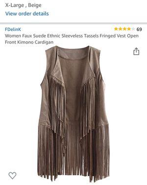 Women's Faux suede Fringe vest (NEW in package) $15 for Sale in Queen Creek, AZ