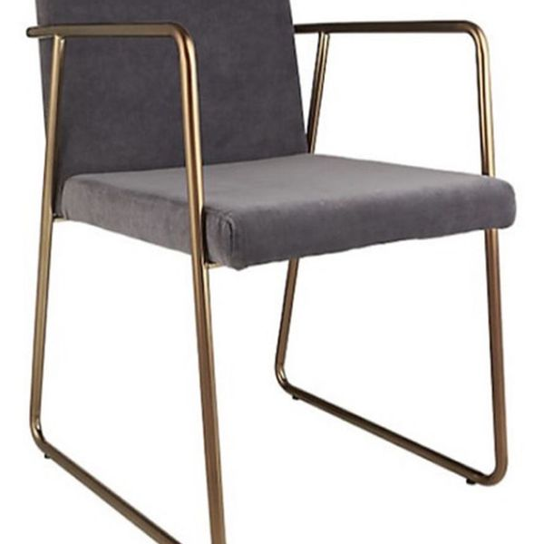 CB2 Rouka Gray/Brass Dining Or Accent Chairs (set of 2)